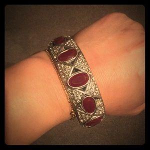 Lucky Brand Ruby Stone Pave Crystal bangle